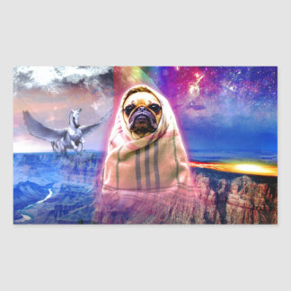 Space pug, I come in peace dog Rectangular Sticker