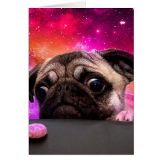space pug - pug food - pug cookie card