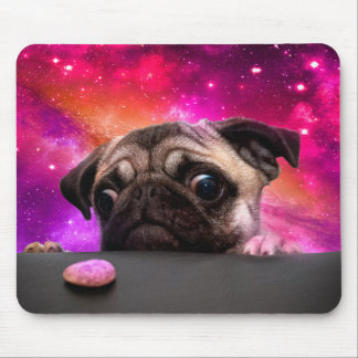 space pug - pug food - pug cookie mouse pad