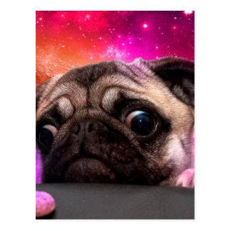 space pug - pug food - pug cookie postcard