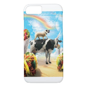 Space Pug Riding Cow Unicorn - Taco & Burrito iPhone 8/7 Case