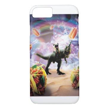 Space Pug Riding Dinosaur Unicorn - Hotdog & Taco iPhone 8/7 Case