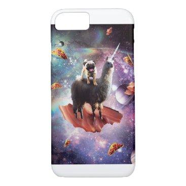 Space Pug Riding Llama Unicorn - Bacon & Taco iPhone 8/7 Case