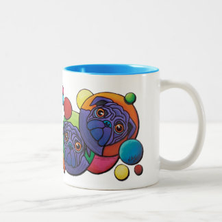 Space Pugs Two-Tone Coffee Mug