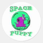Space Puppy Classic Round Sticker