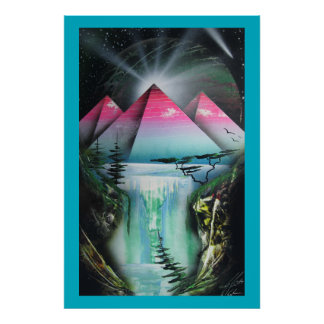 Space pyramid waterfall poster