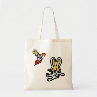 Space rabbit (floating & rocket) tote bag