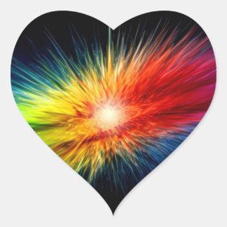 Space Rainbow background Heart Sticker