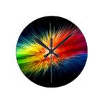 Space Rainbow background Round Wall Clocks