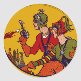 Space Ray Gun Toy Vintage Comic Book Character Art Classic Round Sticker