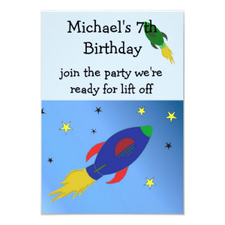 Space Rocket Birthday Invitation
