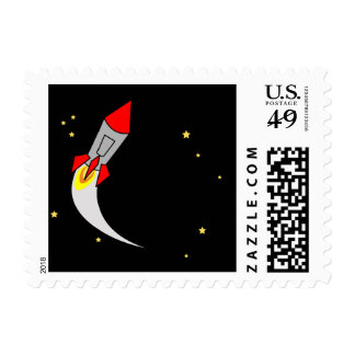 space rocket BIRTHDAY PARTY stamp