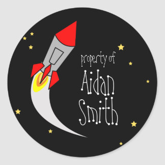 space rocket BOOKPLATE book label