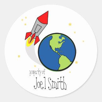 space rocket BOOKPLATE book label Classic Round Sticker
