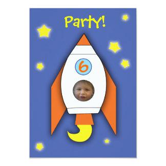 space rocket boy photo party invitation