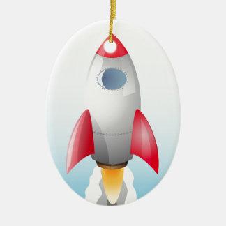 Space Rocket Ceramic Ornament