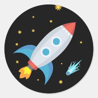 Space Rocket Emoji Classic Round Sticker