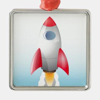 Space Rocket Metal Ornament