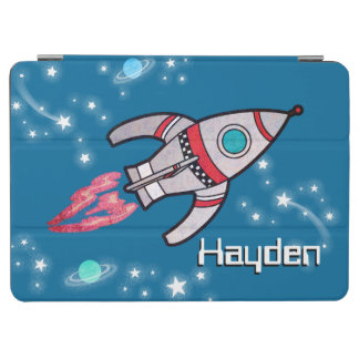 Space rocket name kids blue ipad cover