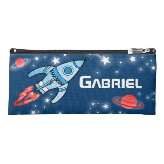 Space rocket named kids pencil case