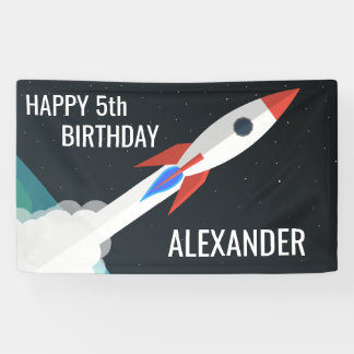 Space Rocket Personalized Kids Birthday Party Banner