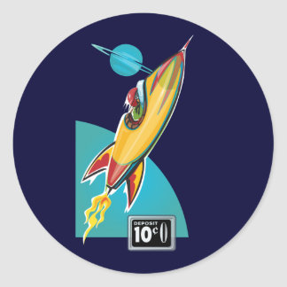 Space Rocket Ride Classic Round Sticker