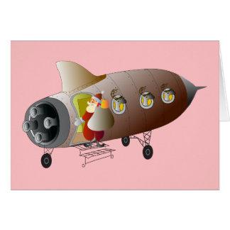 Space Rocket Santa Card