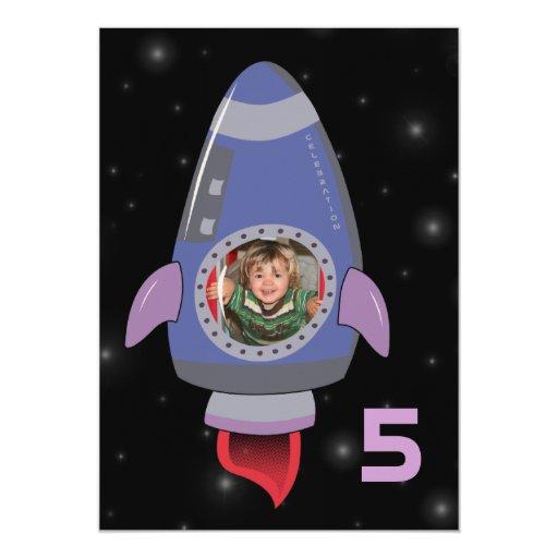 "Space Rocket Ship Boys Birthday Party Invite 5"" X 7"" Invitation Card"