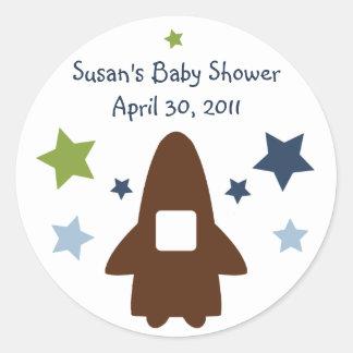 Space Rocket & Star Stickers/Labels/Envelope Seals Classic Round Sticker