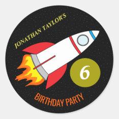 Space Rocket To The Moon Children's Birthday Classic Round Sticker at Zazzle