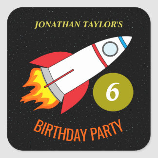 Space Rocket to the Moon Children's Birthday Square Sticker