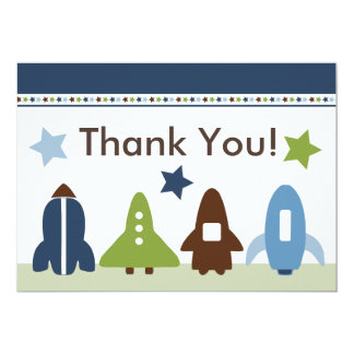 Space Rockets Thank You Card Announcement