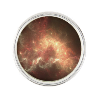 Space Round Lapel Pin, Silver Plated Pin