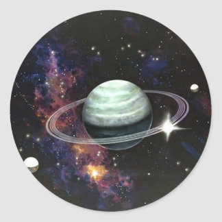 Space, Saturn Rings & Moons Classic Round Sticker