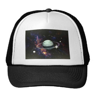 Space, Saturn Rings & Moons Trucker Hats