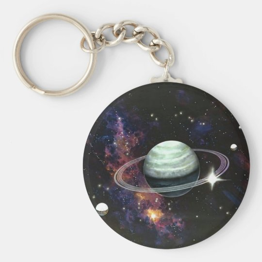 Space, Saturn Rings & Moons Keychain