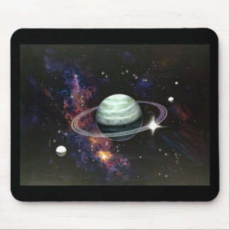 Space, Saturn Rings & Moons Mouse Pad