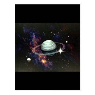 Space Saturn Rings Moons Post Card