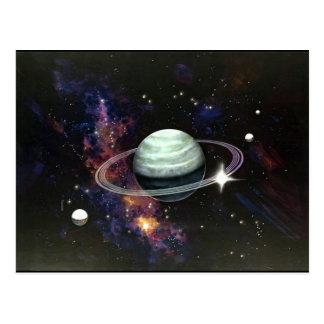 Space Saturn Rings Moons Postcard
