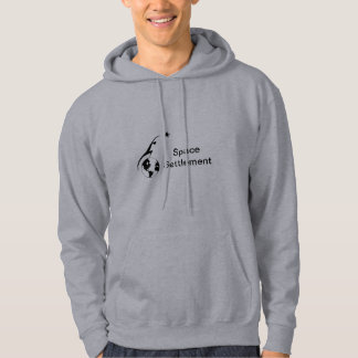 Space Settlement with text Hoodie