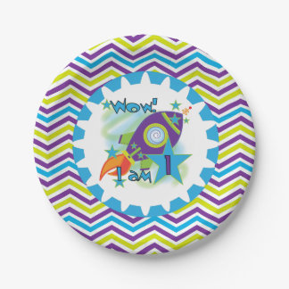 Space Ship 1st Birthday Paper Plates 7 Inch Paper Plate