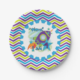 Space Ship 4th Birthday Paper Plates 7 Inch Paper Plate