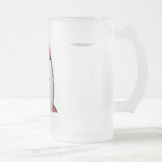 Space ship and Planet Frosted Glass Beer Mug