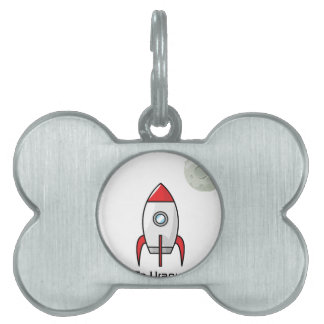 Space ship and Planet Pet Name Tag