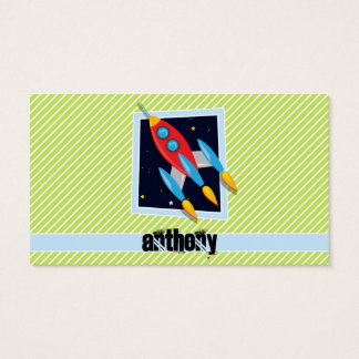 Space Ship; Lime Green & White Stripes Business Card