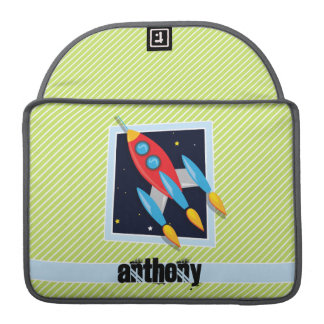Space Ship; Lime Green & White Stripes MacBook Pro Sleeve