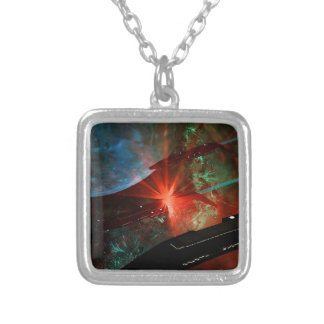 Space Ship Platoon Silver Plated Necklace