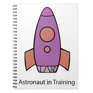 space ship rocket astronaut spiral notebook