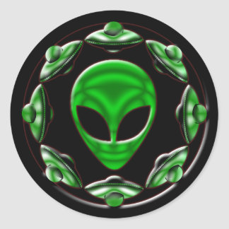 SPACE SHIPS AND ALIEN HEAD STICKERS