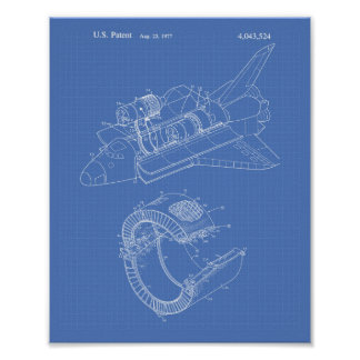 Space Shuttle 1977 Patent Art - Blueprint Poster